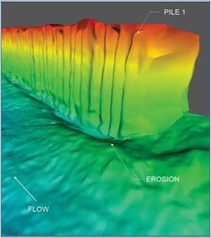3D Sonar Image of Pile Wall – Erosion Location